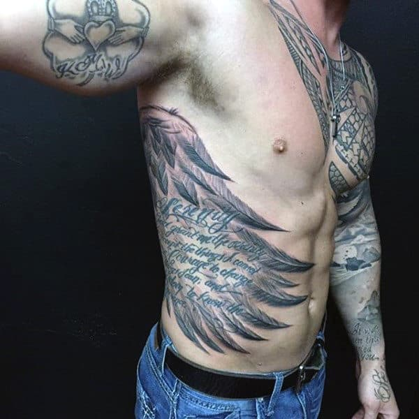Rib Cage Side Wings Tattoos For Men