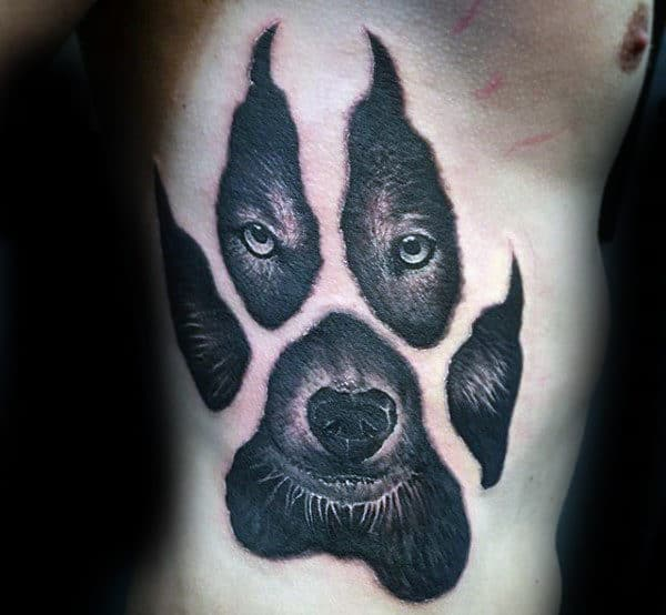 Rib Cage Side Wolf Paw Mens Tattoo Designs