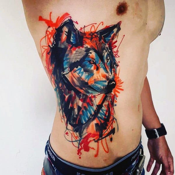 Rib Ciage Side Of Body Artistic Husky Tattoos For Men