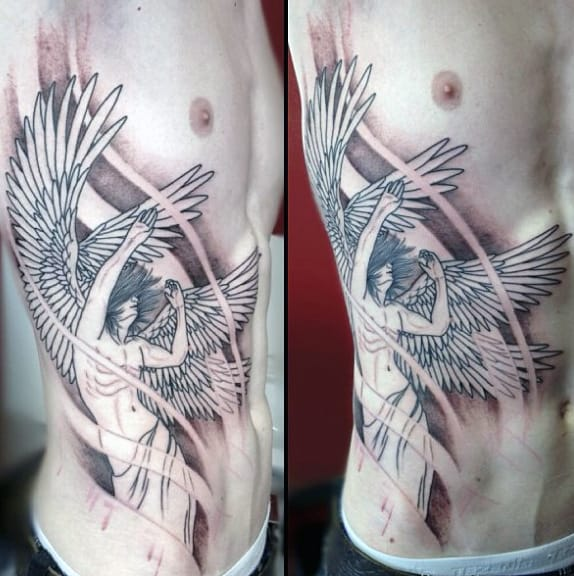 Rib Side Grey Ink Angel Tattoo For Men