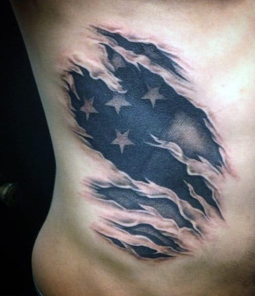Rib Star Tattoo Designs For Men
