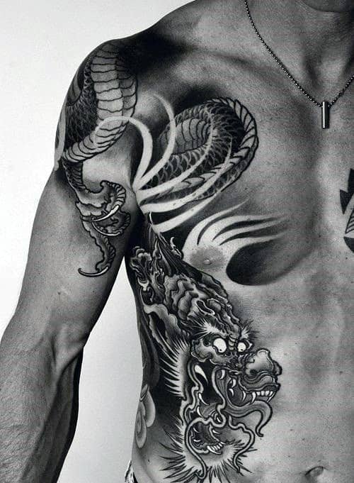Ribcage Japanese Tattoo Ideas For Guys