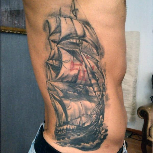 Ribcage Side Old Sailors Mens Tattoos