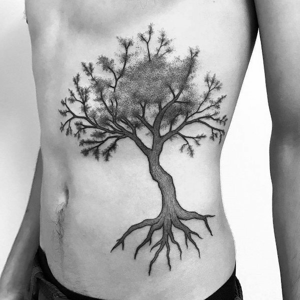 Ribs And Chest Tattoo Ideas Cool Tree