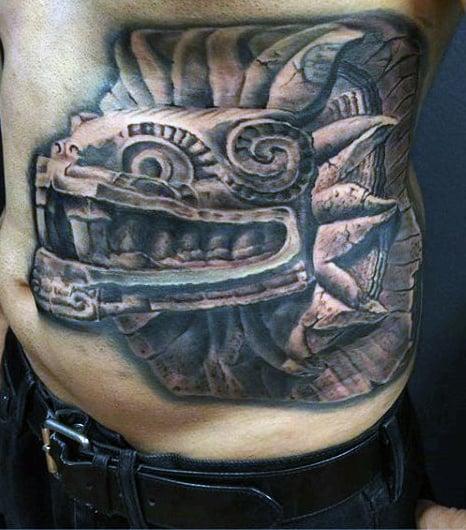 Ribs Men's Aztec Indian Tattoos