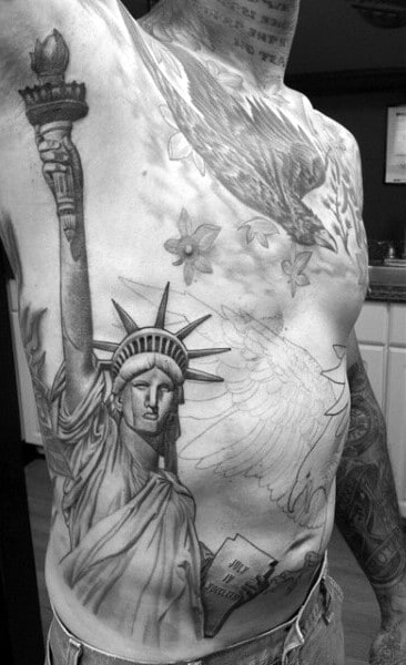 Ribs Statue Of Liberty Tattoo For Men With Torch