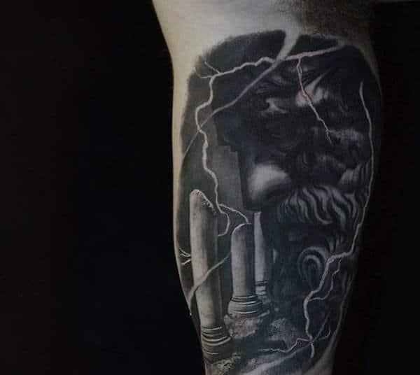 Rich Greek Myth With Lightening Tattoos For Men