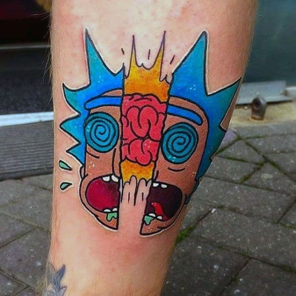 Rick And Morty Guys Brain Cartoon Leg Tattoos