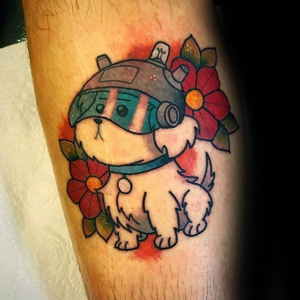 Rick And Morty Snuffles Dog Leg Tattoo Ideas For Males