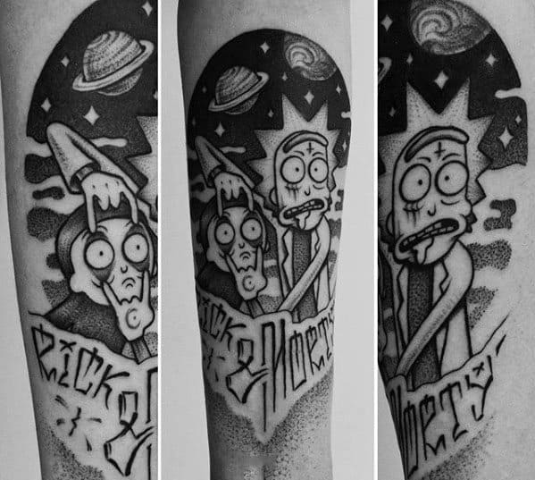 Rick And Morty Themed Forearm Dotwork Tattoo Ideas On Guys