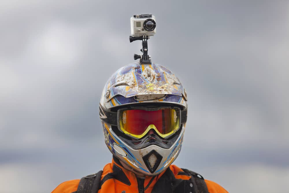 rider with camera of his head participates at greeks meeting of endurocross