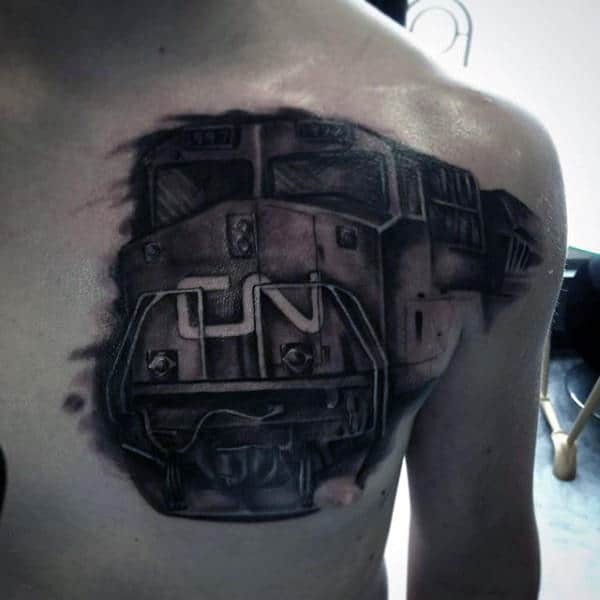 Right Chest Black Train Tattoo For Men