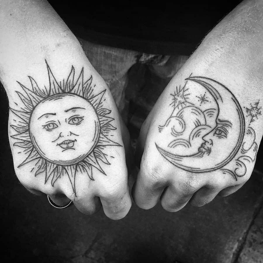 Right Hand Top Sun Face Left Hand Moon Face Tattoo