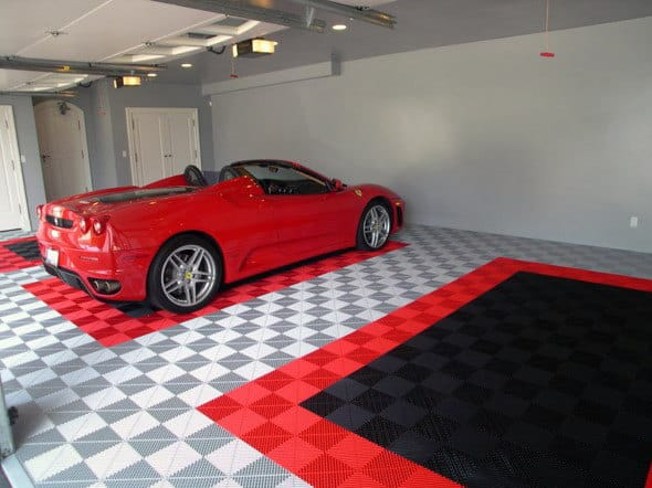 Rigid Snap Together Tiles Garage Flooring Ideas With Red And Black