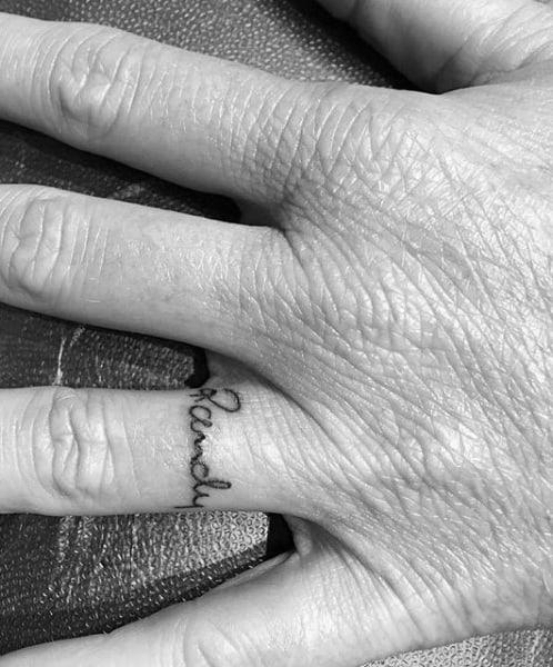 Ring Finger Mens Rachel Name Tattoo Designs