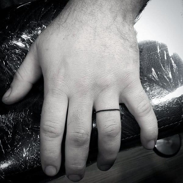Ring Finger Tattoos For Men With Thin Black Line