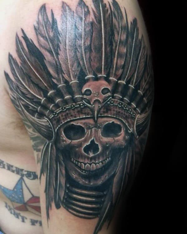 Tattoo Designs For Male Upper Arm: 80 Indian Skull Tattoo Designs For Men