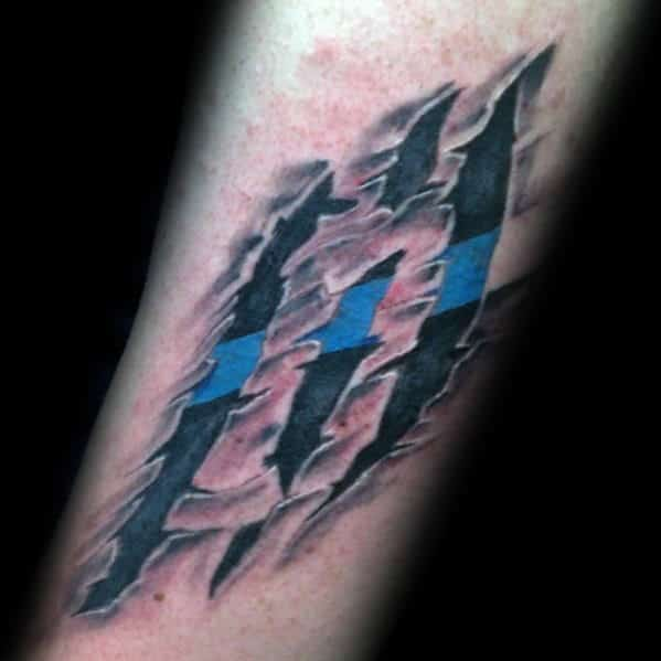 Ripepd Skin Thin Blue Line Male Forearm Tattoos