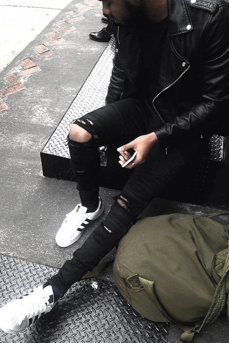 Ripped Jeans With Leather Jacket All Black Outfits For Men