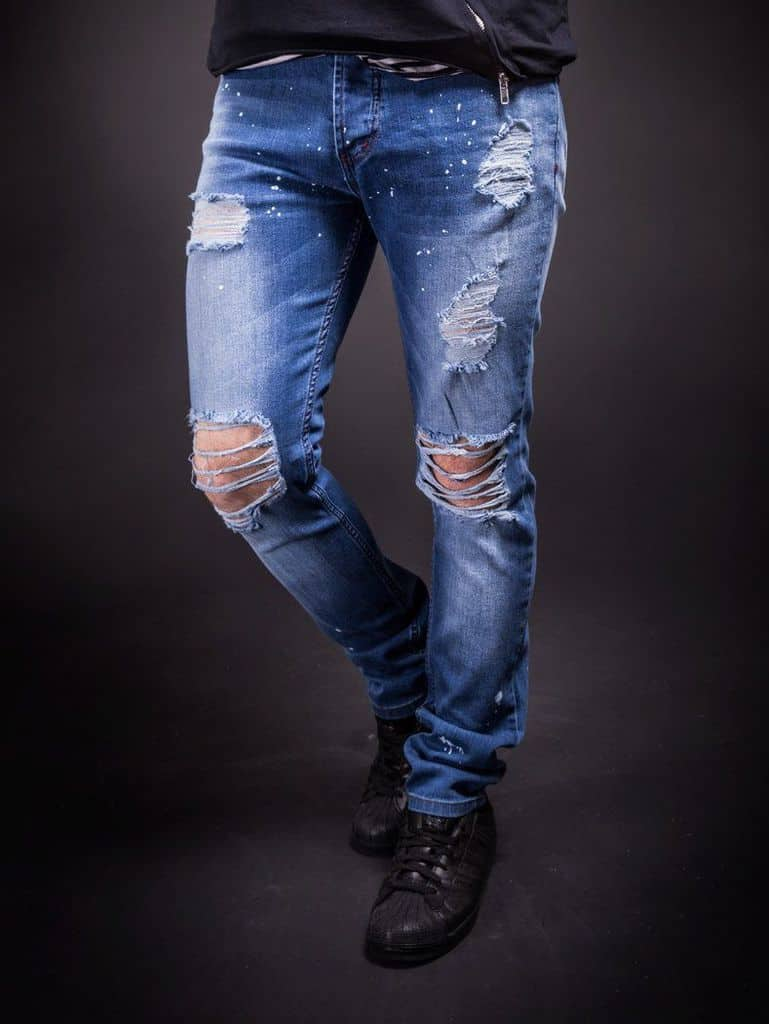 Men Slim Fit Simply Ripped Jeans - Blue