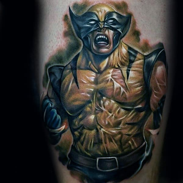 Ripped Muscular Wolverine Mens Arm Tattoos