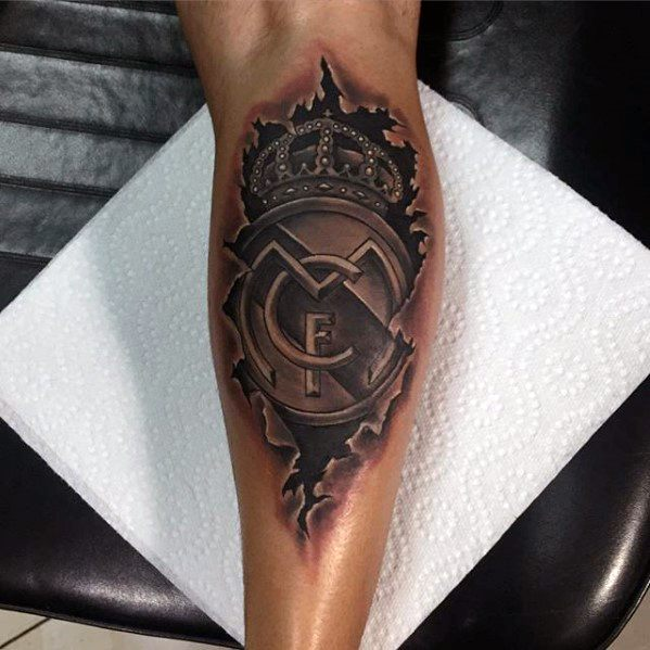 Ripped Skin 3d Leg Calf Amazing Mens Real Madrid Tattoo Designs
