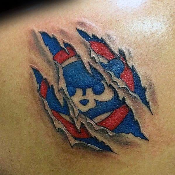 Ripped Skin Back Chicago Cubs Mens Tattoos