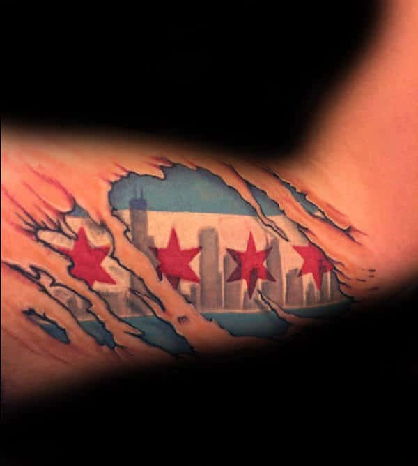 ripped skin bicep chicago flag guys tattoo design ideas - Flag Design Ideas