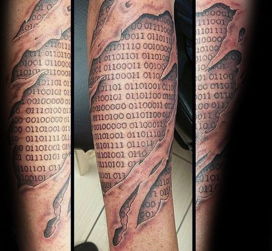 Ripped Skin Binary Mens Forearm Tattoos