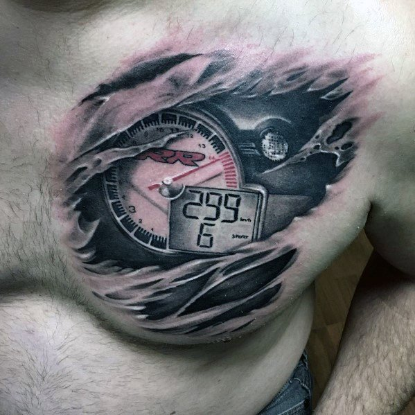 Ripped Skin Bmw Motorcycle Gagues Chest Tattoo Inspiration For Men