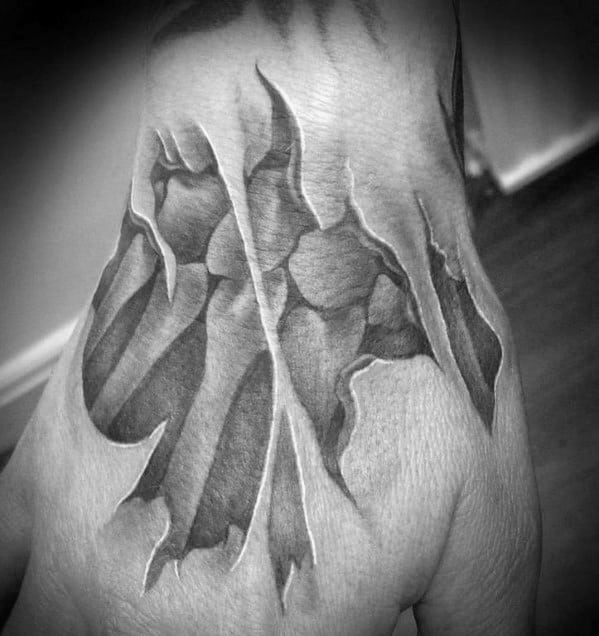 Ripped Skin Bones 3d Mens Hand Tattoo Ideas
