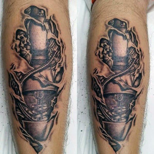 Ripped Skin Bowling Pin Mens Back Of Leg Tattoos