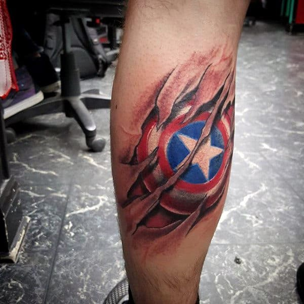 Ripped Skin Captain America Shield Male Tattoo Designs