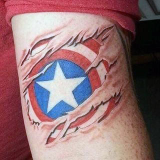 Ripped Skin Captain America Tricep Guys Tattoo Design Ideas