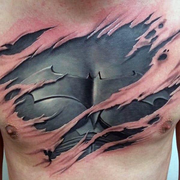 Ripped Skin Chest Batman Tattoo Designs