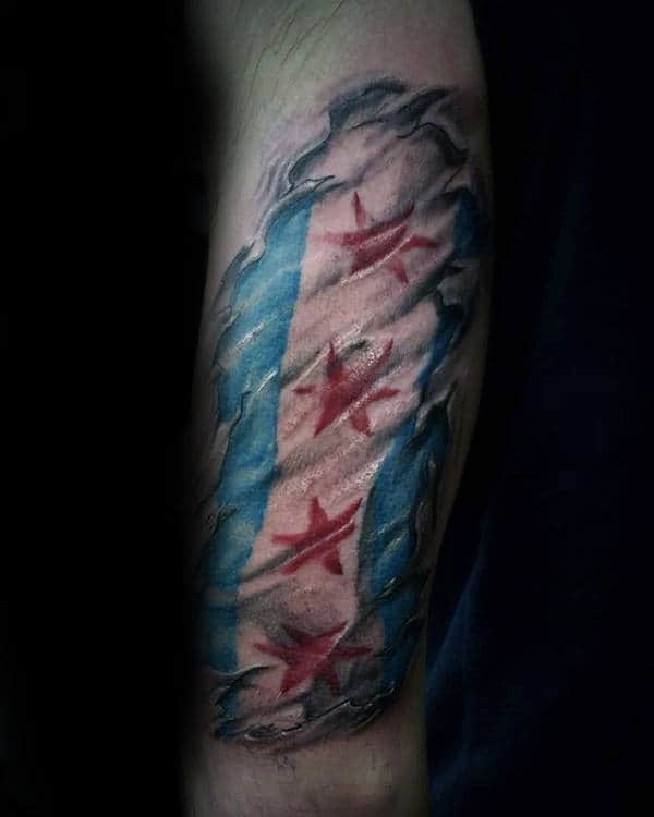 Ripped Skin Chicago Flag Tattoo On Males Forearms