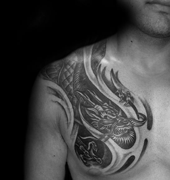 Ripped Skin Chinese Dragon 3d Mens Shoulder Tattoos