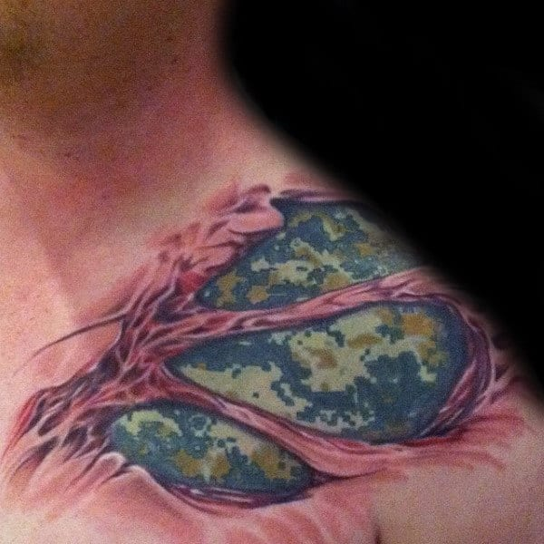 Ripped Skin Digital Camo Army Mens Shoulder Tattoo