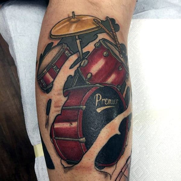 Ripped Skin Drum Arm Tattoos For Guys