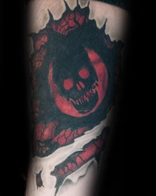 Ripped Skin Gears Of War Black And Grey Inner Forearm Tattoos For Men