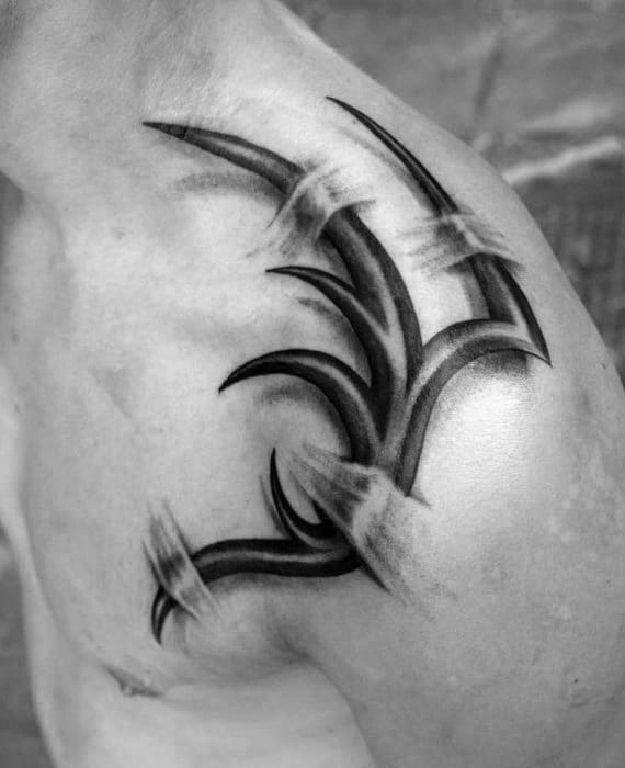 Ripped Skin Guys 3d Realistic Tribal Tattoo On Shoulder