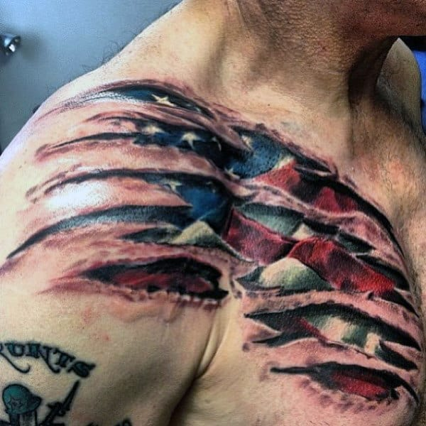 Ripped Skin Guys Bald Eagle And American Flag Tattoos On Chest