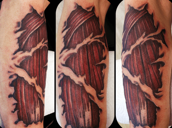 Ripped Skin Guys Muscle Tattoo Ideas