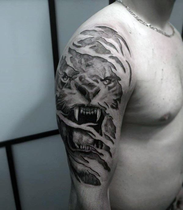 Ripped Skin Guys Roaring Lion Unique Arm Half Sleeve Tattoo