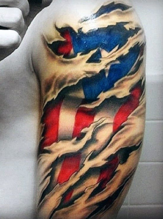 Ripped Skin Half Sleeve Mens Texas Flag Tattoo Ideas