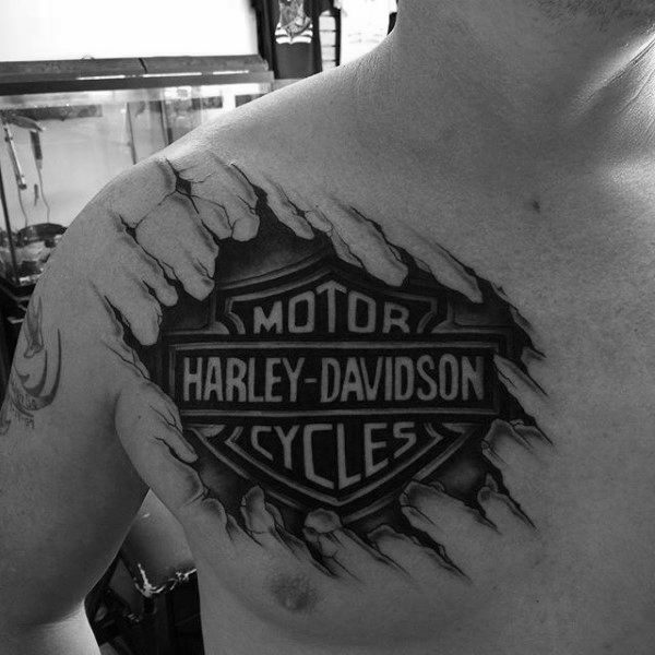 Ripped Skin Harley Davidson Logo 3d Guys Upper Chest Tattoo With Black Ink