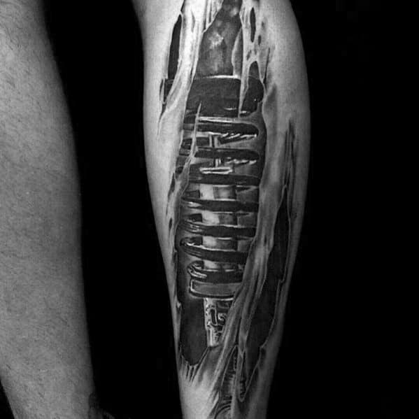 50 Suspension Tattoo Designs For Men - Shock Absorber Ideas