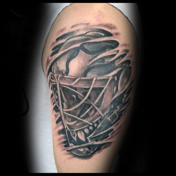 75 hockey tattoos for men nhl design ideas. Black Bedroom Furniture Sets. Home Design Ideas