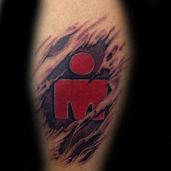 Ripped Skin Leg Calf Ironman Guys Triathlon Tattoo