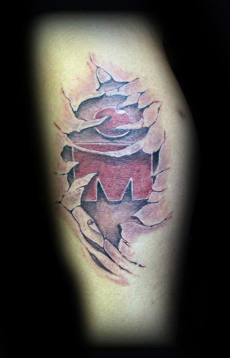 Ripped Skin Leg Ironman Male Tattoos
